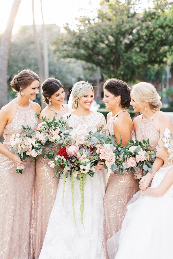 Blush Art Deco bridesmaid dresses