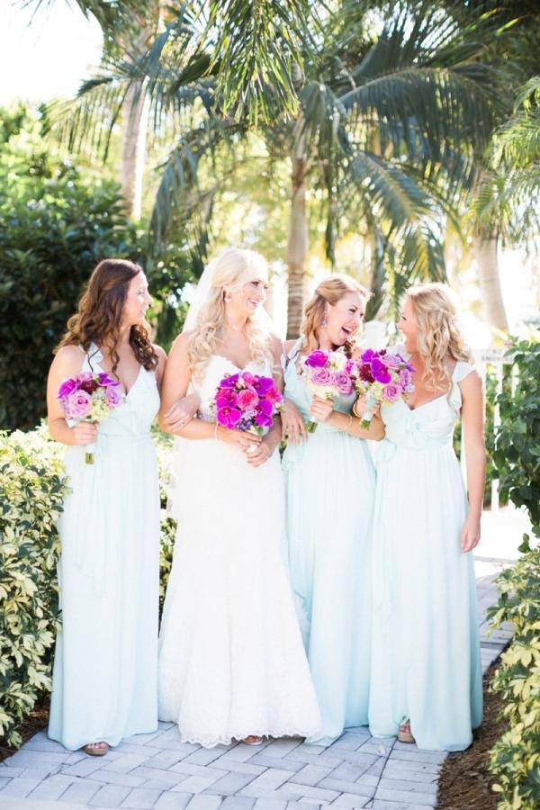 Pale blue bridesmaids