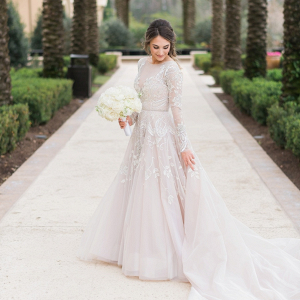 Long sleeve lace Hayley Paige wedding gown