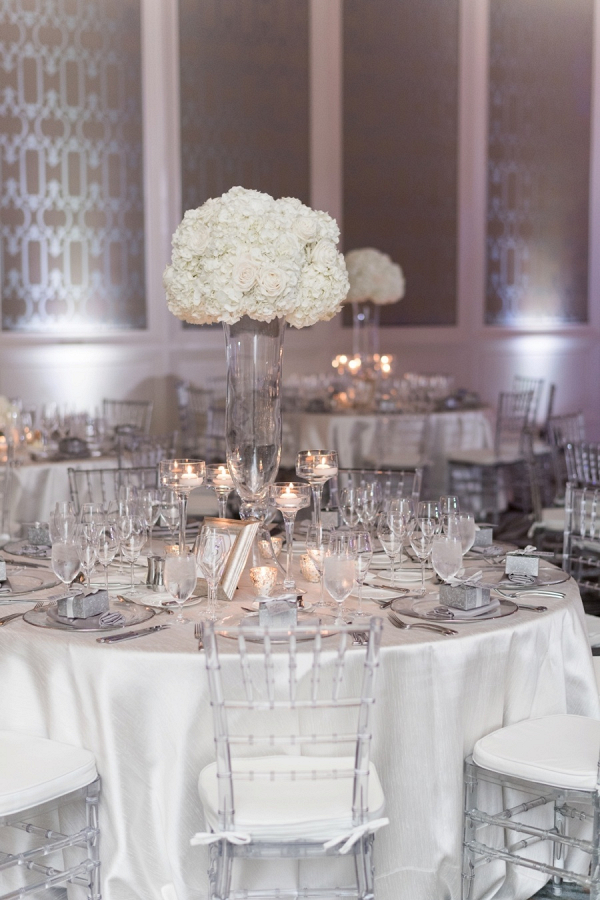 Elegant white and silver wedding reception