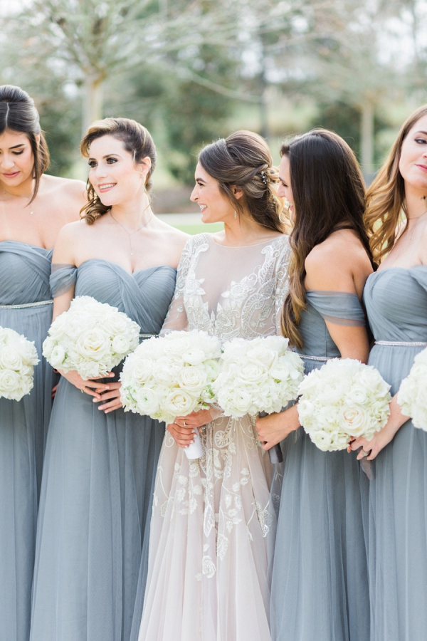Dusty blue tulle bridesmaid dresses