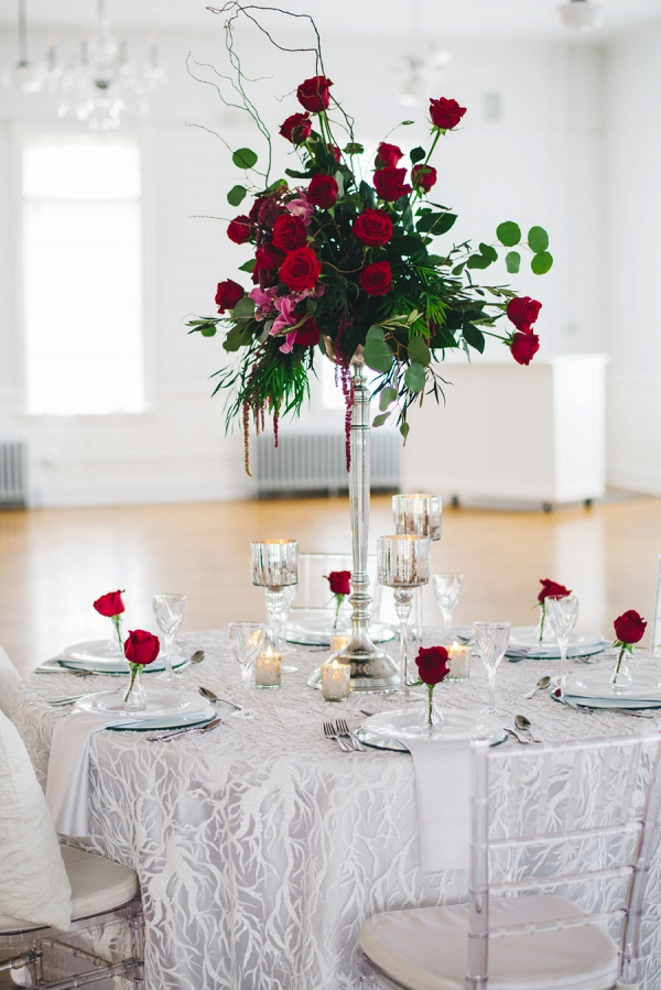 Tall elegant red and silver wedding table