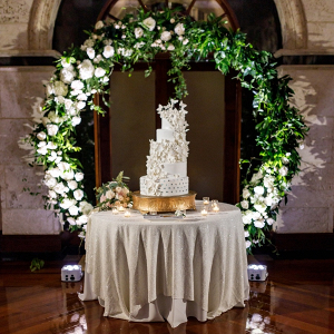 Glam wedding cake with sugar butterflies