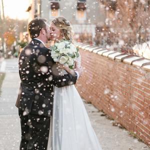Snowy wedding portrait