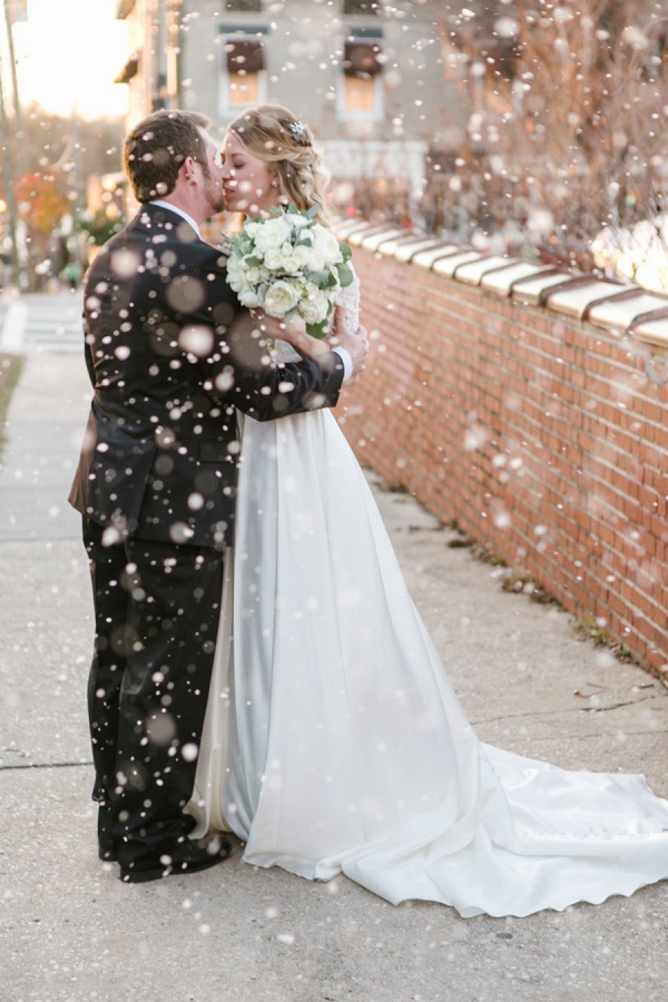 Snowy wedding portrait