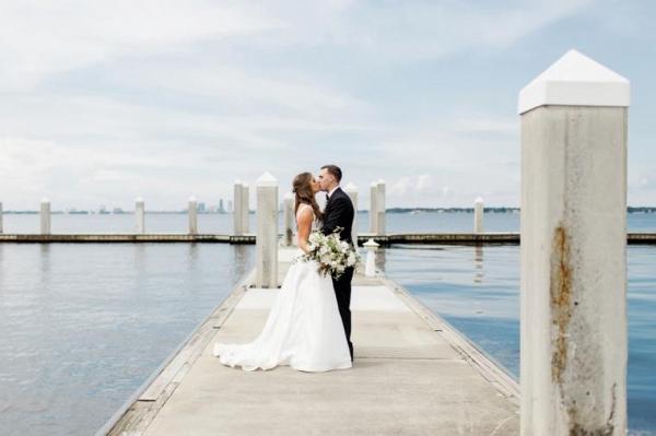 Seaside wedding portrait