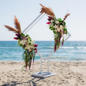Modern beach ceremony backdrop
