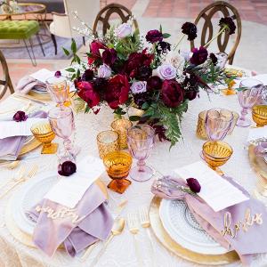 Purple and magenta wedding table