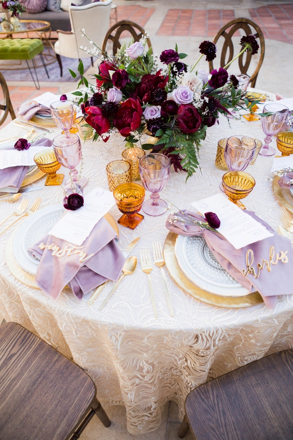 Purple and magenta wedding table