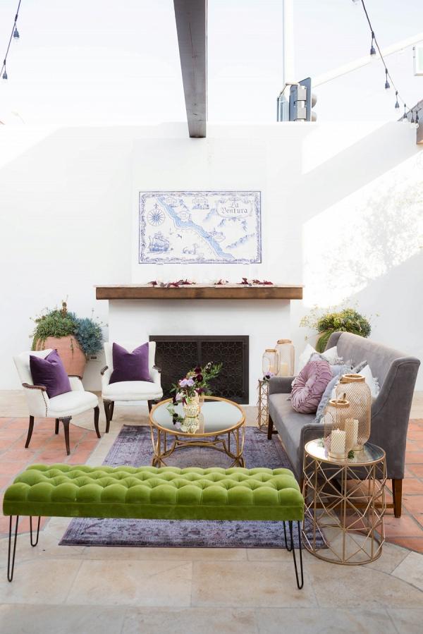 Purple wedding lounge area