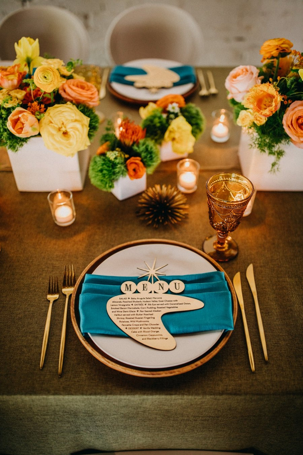 Retro wedding table with vintage sign inspired menu