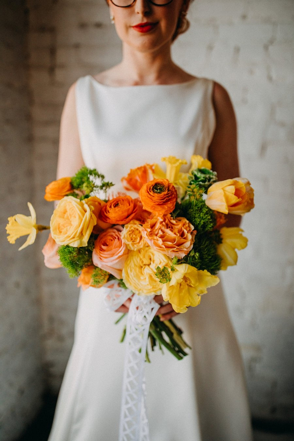 Orange and yellow bridal bouquet