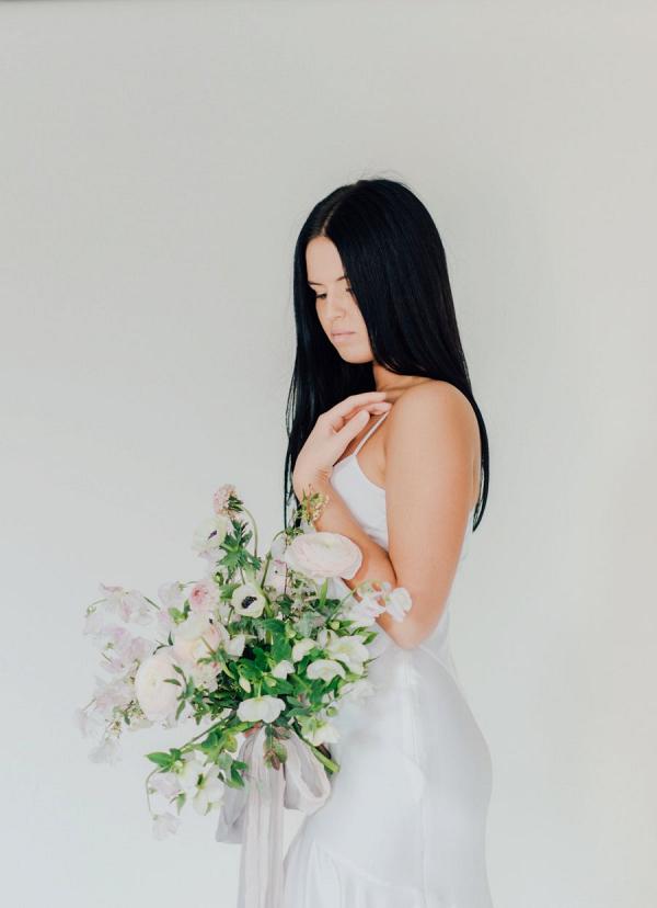 Bride in silk sheath wedding dress