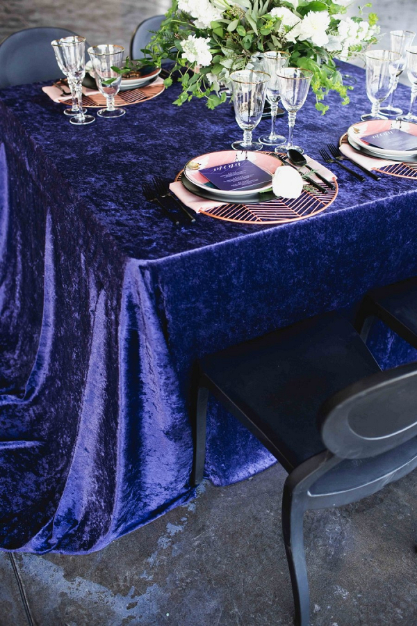 Dramatic blue tablescape