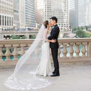 Elegant black and white Chicago wedding