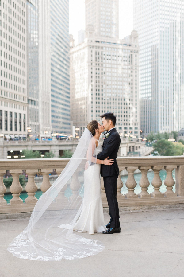 Elegant black and white Chicago wedding