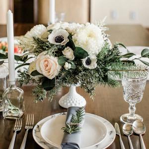 Elegant winter wedding tablescape