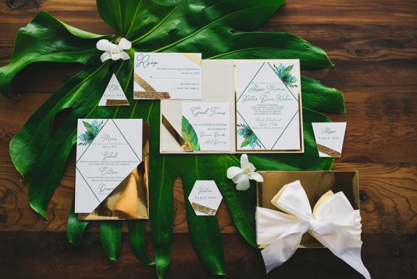 Modern green and gold wedding invitation suite