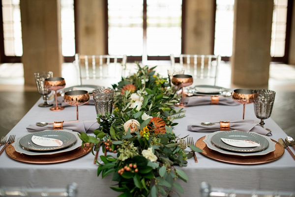 Copper and gray tablescape