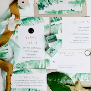 Tropical wedding invitations on Every Last Detail