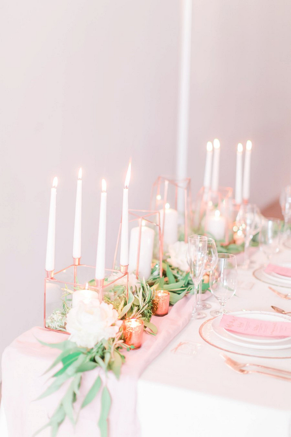 Modern pink and copper tablescape