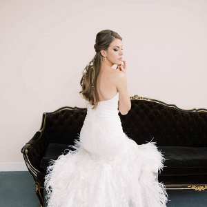Feathered wedding dress