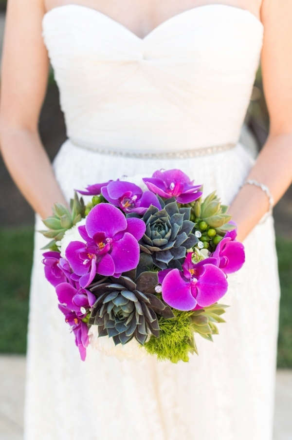 Orchid and succulent bouquet