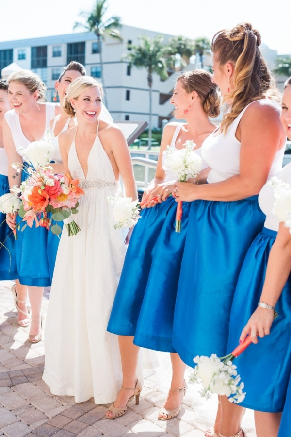Blue bridesmaid skirts with white tanks