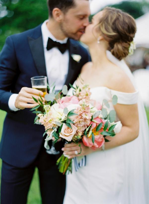 Peach wedding portrait