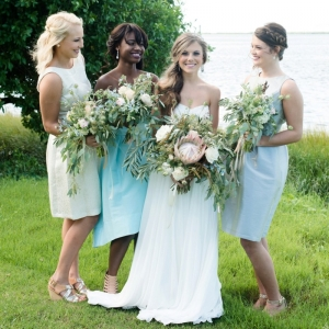 Aqua, gray, and champagne bridesmaid dresses