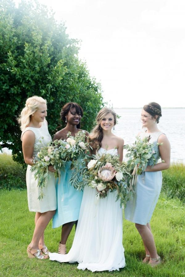Aqua, gray, and champagne bridesmaid dresses