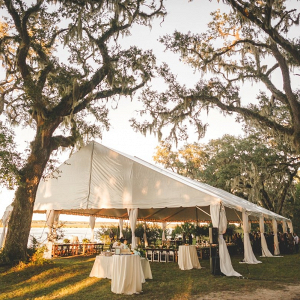 Riverside tented wedding reception