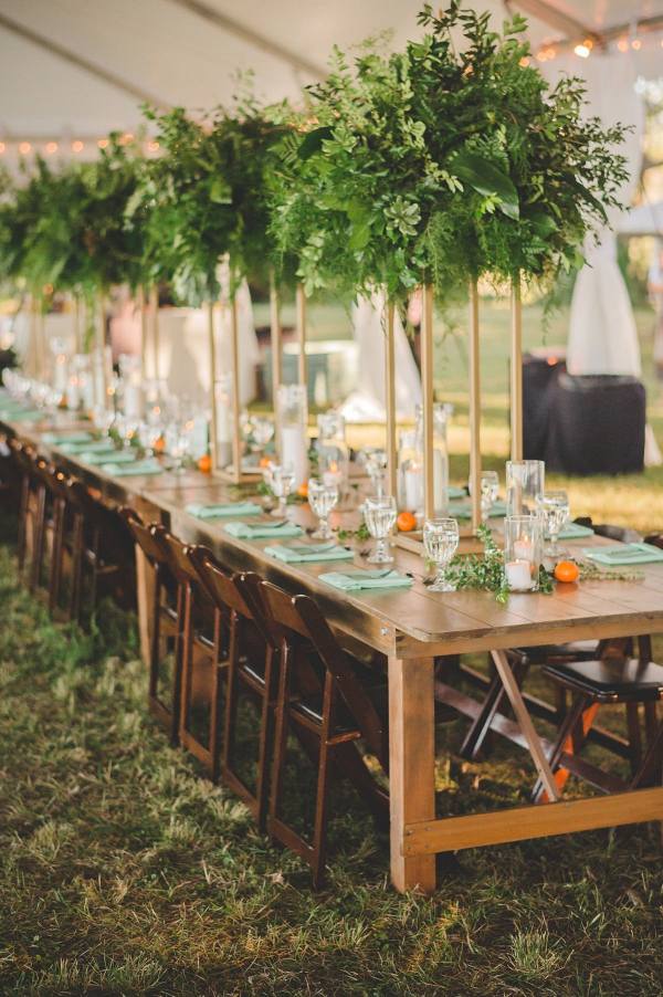 Tall modern greenery wedding centerpieces