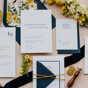 Modern wedding invitation with floral print liner