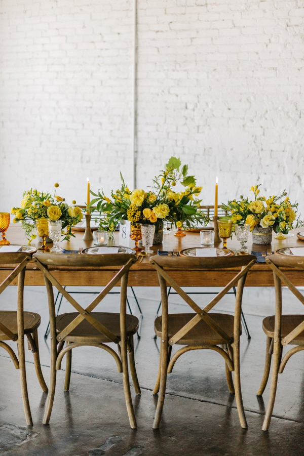 Yellow wedding tablescape