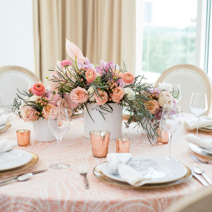 Peach tropical wedding tablescape