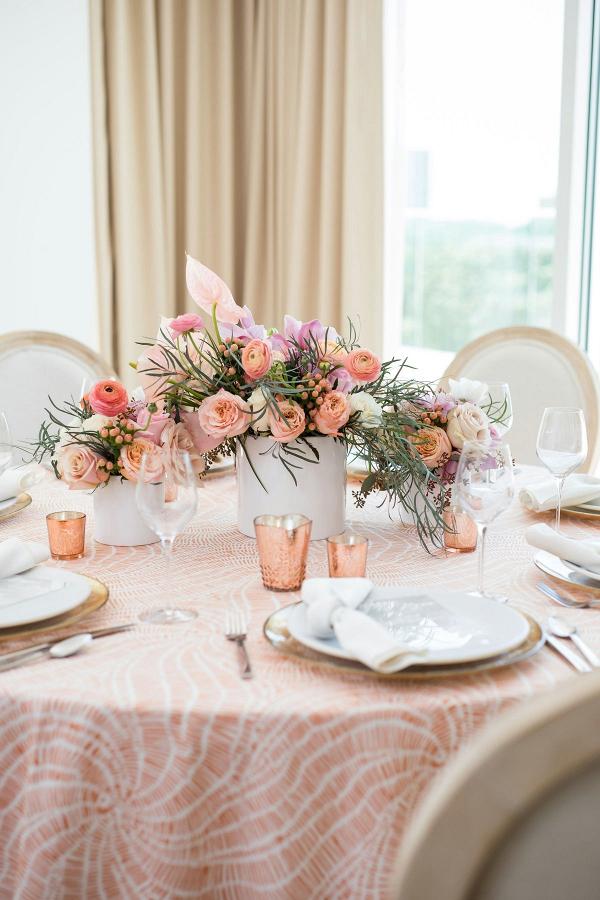 Peach tropical wedding tablescape