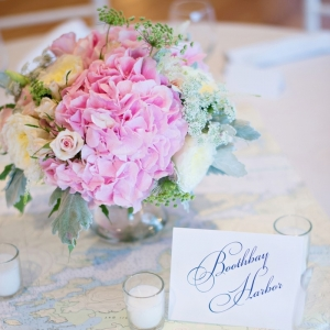 Pink and white centerpiece