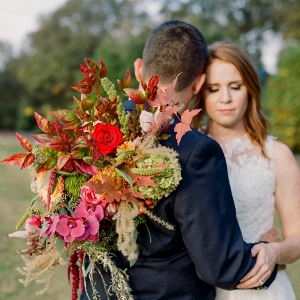 pink and orange fall wedding inspiration on Every Last Detail