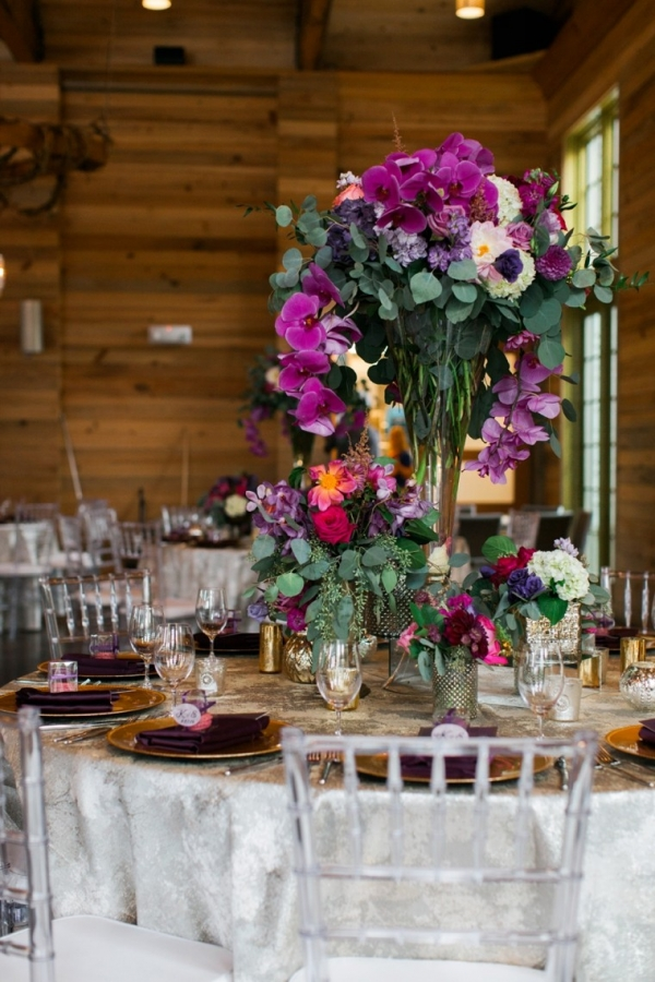 Pink and plum centerpiece