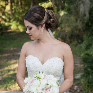 Bride in strapless dress
