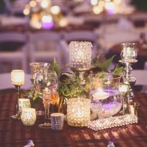 Purple candle centerpiece