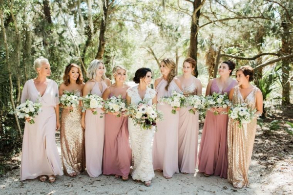 Blush and gold mismatched bridesmaid dresses