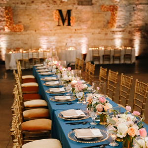 Blue and blush wedding reception
