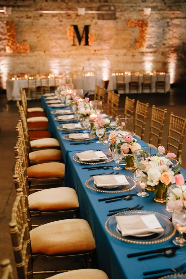Blue and blush wedding reception