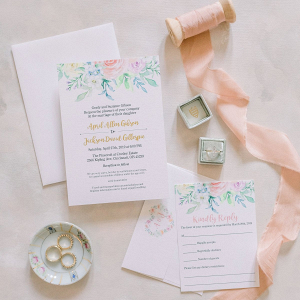 Floral painted wedding invitation suite