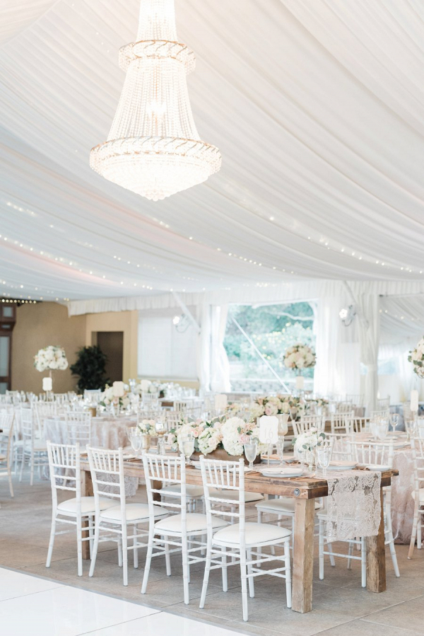 Blush and white reception