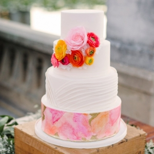 Pink and orange wedding cake