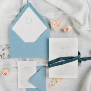 Elegant white and blue invitation
