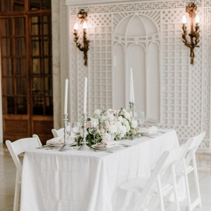 White and blush wedding reception